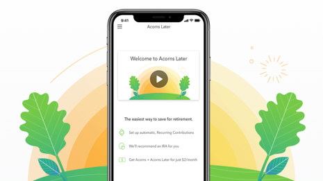Screenshot of the Acorns app
